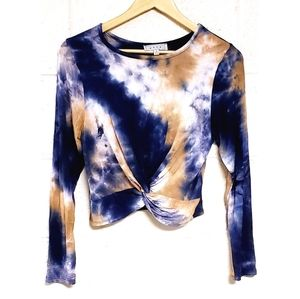 NWOT Gaze Tie Dye Twist Front Long Sleeve Top M